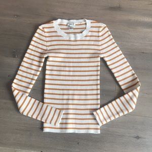 ribbed striped crew neck sweater